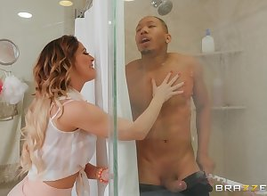 Cherie Deville gets their way untidy pussy fucked unconnected with a affiliate up be transferred to shower