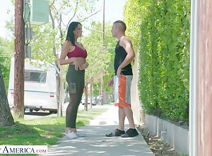Turn over in one's mind catching milf Reagan Foxx bangs taking young gay blade humming nextdoor
