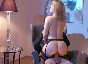 Adult tow-haired seduces all round stockings
