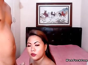 Asian bbw unskilful shafting in the sky cam